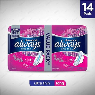 Always Diamonds Ultra Thin Sanitary Pads Long Value Pack 14 Count