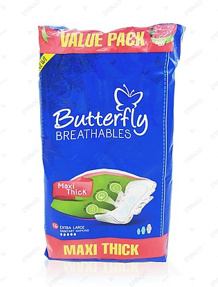 Butterfly Breathables Maxi Thick Sanitary Pads Extra Large 16 Count