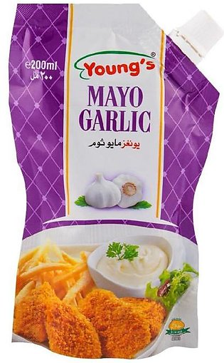 Young's Mayo Garlic Pouch 200ml