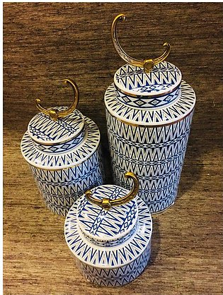 3 Piece Ceremic Blue and White design Decorative Jar with Golden Crescent Lid