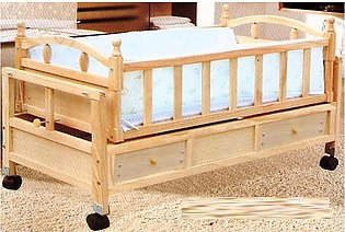 Baby Wooden Swing Cradle Bed With Drawers