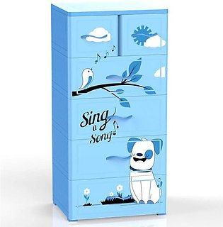 Duytan Blue Cute Design Plastic Cabinet With 6 Large Compartments