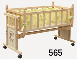 Baby Wooden Cradle Bed With Wheels