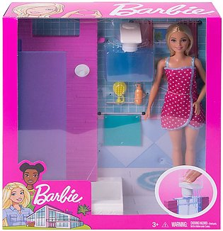 Barbie Doll and Bathroom with Working Shower