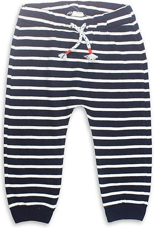 BABY CLUB Blue And White Stripes Boys Cotton Terry Trouser