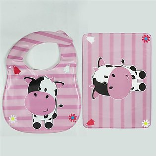 Roby Baby Mat And Bib Pink Cow 2 Piece Set