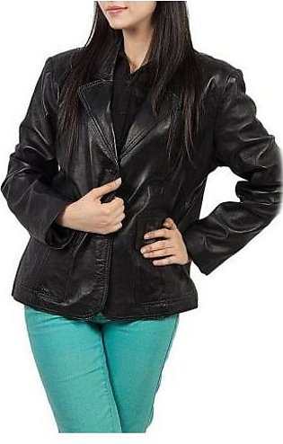 House of Leather Two Button Coat for Women Black