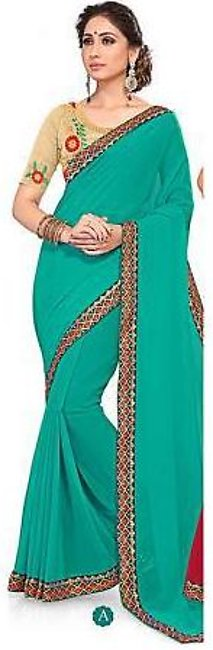 Ruchika Saree for Women Sea Green & Golden