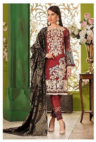 Sifona Chandelier Opulence 4 Pcs Unstitched Embroidery Suit ACC-08 Maroon