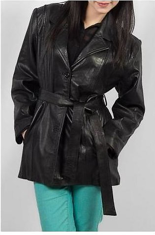 House of Leather Three Buttons Coat with Waist Belt for Women Black