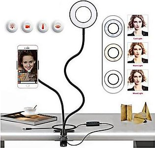 Selfie Ring Light with Cell Phone Holder Stand Black