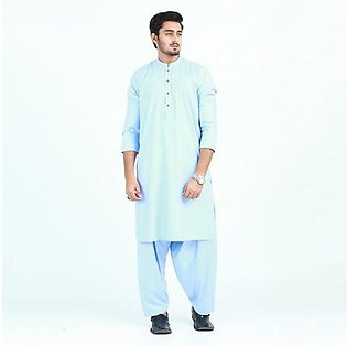 Oxford Cotton Plain Kurta Shalwar for Men OX44 Sky Blue