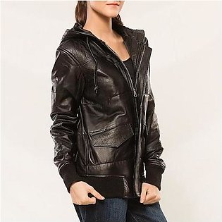 House of Leather Sheep Leather Hoodie Jacket for Women Black