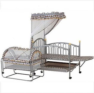 Mama & Baby Beautiful Print Metal Cot Brown