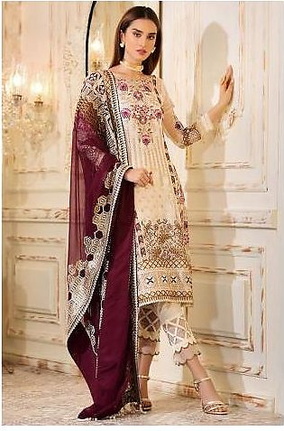 Sifona 4 Pcs Alabaster Unstitched Suit ECC – 03 Cream