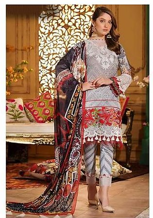 Sifona Fire & Ice 4 Pcs Unstitched Embroidery Suit ACC-11 Grey