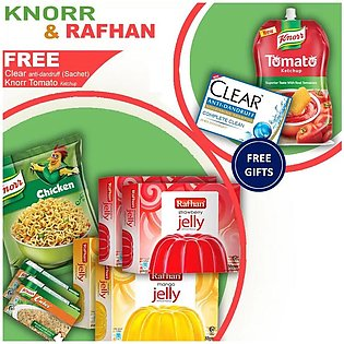 Free ketchup & Clear Shampoo With Rafhan Jellies, Knorr Noodles & Cubes