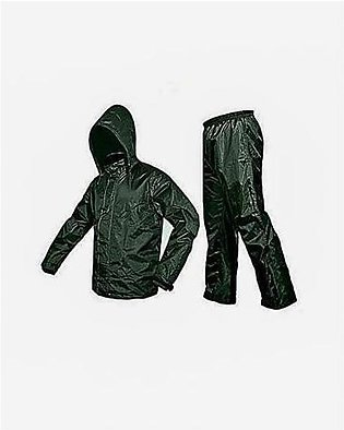 Parachute Rain Coat Suit With Trouser For Unisex Green