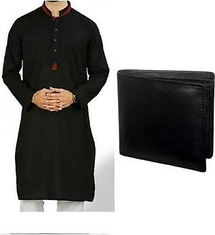 Hyperzone Pack Of 2 Mix Cotton Kurta & Leather Wallet For Men HYP-209 Black