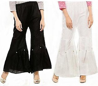 Pack of 2 Gharara Pants For Women DOHG-235 White and Black