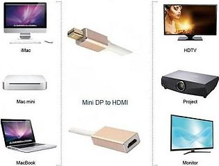Mini DP DisplayPort to HDMI Adapter 4K Thunderbolt to HDMI Converter Golden