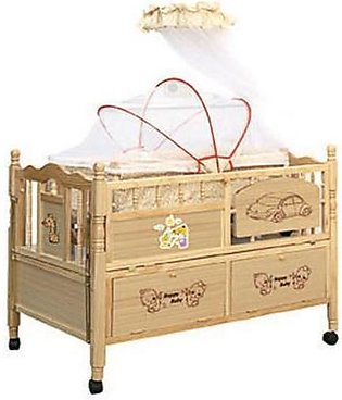 Mama & Baby Wooden Printed Cot For Baby 6318 Brown