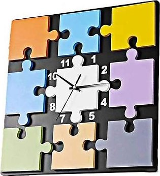 Wooden Colorful Wall Clock Puzzle Multicolor