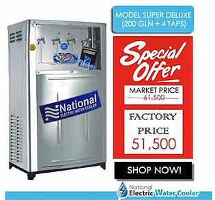 National Electric Water Cooler Super Delux 200 Gallon with 4 Taps Silver