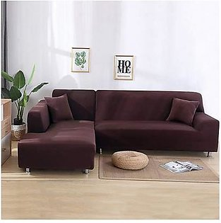 2 Pcs L Shape Couch Sofa Covers Dark Chocolate