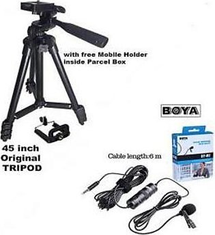 Combo 2 Original Boya M1 By M1 Mic with Original TF 3120 Tripod Stand with Fr...