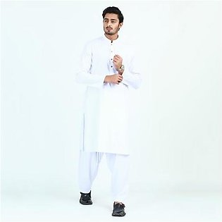 Oxford Cotton Plain Kurta Shalwar for Men OX46 White