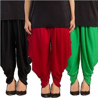 Pack of 3 Tulip Shalwars with Pearls DOHG-210 Black, Maroon and Green
