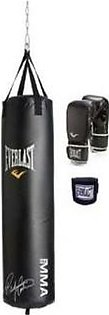 Punching Bag & Gloves with Wrist Grip 744 Black