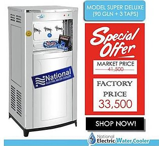 National Electric Water Cooler Super Delux 90 Gallon with 3 Taps Silver