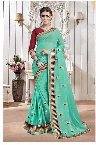 Dream Girl Semi Stitched Saree For Women Vol 2 1002 Light Blue & Brown