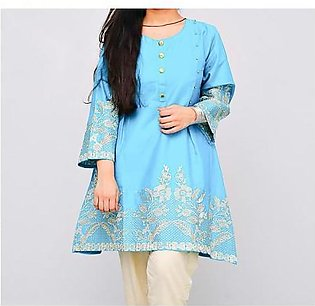 Frock Style Embroidered Short Sleeves Lawn Kurti For Women Ferozi