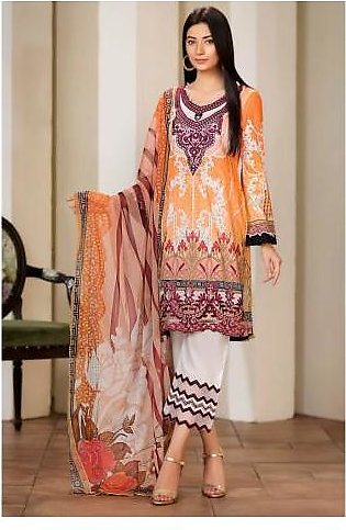 Sifona 3 Pcs Unstitched Suit MSC-12 Orange