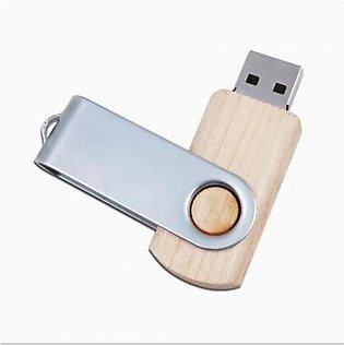 Faster 64GB Wooden USB Flash Drive With Metal Beige
