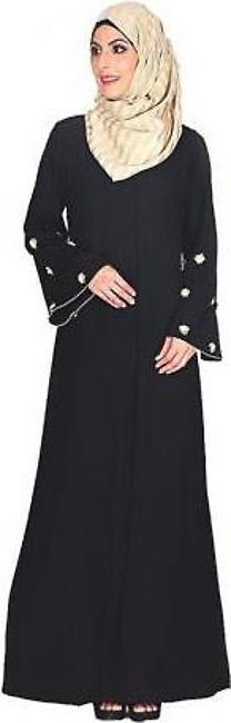 Aarefa Abaya With Delicate Embroidery Black
