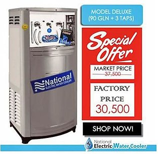 National Electric Water Cooler Deluxe 90 Gallon with 3 Taps Silver