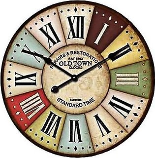Vintage Colorful Non Ticking Silent Wall Clock Multicolor