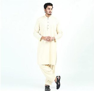 Oxford Cotton Plain Kurta Shalwar for Men OX47 Cream