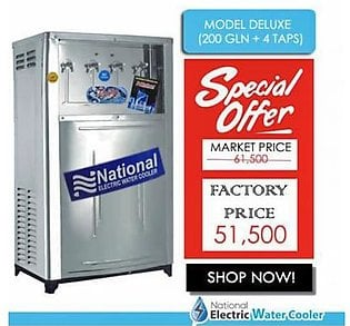 National Electric Water Cooler Deluxe 200 Gallon with 4 Taps Silver