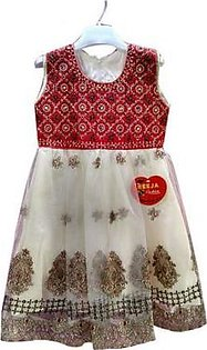 Fancy Net Embroided Frock For Baby Girls Red
