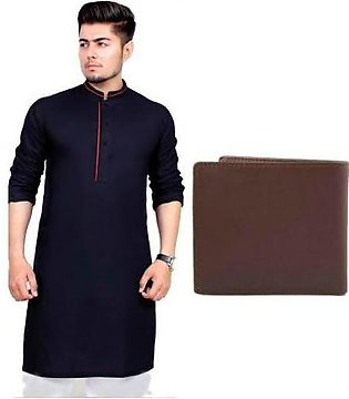 Hyperzone Pack Of 2 Mix Cotton Kurta For Men With Leather Wallet HYP-103 Black
