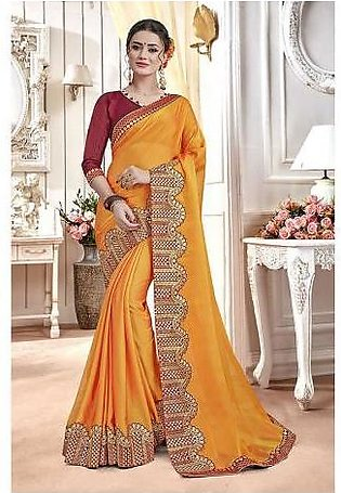 Dream Girl Semi Stitched Saree For Women Vol 2 1003 Yellow & Brown