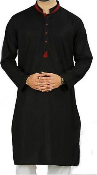 Hyperzone Cotton Kurta For Men With Pant Style Trouser HYP-109 Black