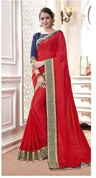 Dream Girl Semi Stitched Saree For Women Vol 2 1008 Red & Blue