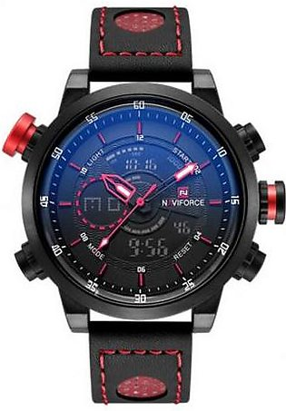 Naviforce Casual Wrist Watch for Men NF-9081 Black & Red