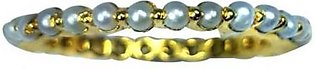 Zed Eye Creations Eternity Band Pearl Gold Glamour Ring for Women Lcr005 Whit...